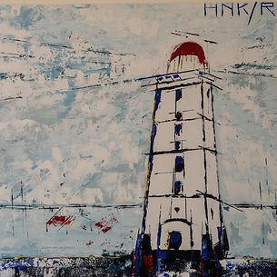 Brandaris. Canvas 80 x 80 cm. Acryl met paletmes. Verhuisd naar Amsterdam