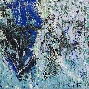 Feeling Blue. Canvas 60 x 60 cm. Acryl met paletmes. Beschikbaar.