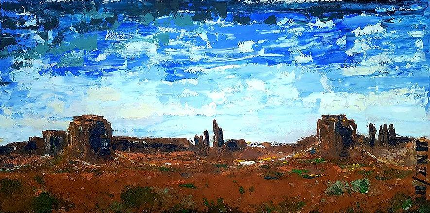 Monument Valley. Acryl met paletmes. Op multiplex. Verhuisd naar Almere.