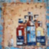 Raised by the wind. Kornog. Canvas 80 x 80 cm. Acryl met paletmes. Verhuisd naar Hilversum.