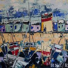 Le port. Canvas 60 x 60 cm. Acryl met paletmes. Beschikbaar.