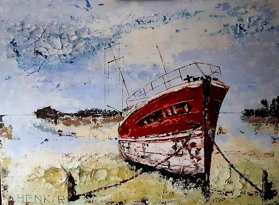 Kalinka. Acryl en porseleinklei met paletmes. Canvas 120 x 100 cm. Verhuisd naar Kortenhoef.