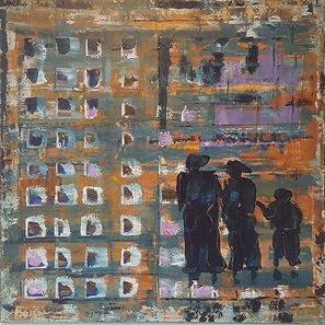 So you think I'm a dreamer. Canvas 110 x 110cm, acryl, paletmes.