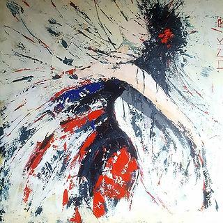 Mambo nr. 1. Canvas 100 x 100. Acryl, paletmes. Beschikbaar, prijs op aanvraag