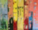 Riomaggiore. Canvas 120 x 100 xm. Acryl met paletmes.