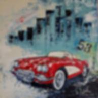Little red Corvette, Acryl op canvas 100 x 100 cm. Beschikbaar, prijs op aanvraag