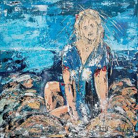 Waves of blue feelings, Canvas 90 x 90 cm. In opdracht gemaakt. Verhuisd naar Loosdrecht
