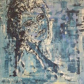 Lady in blue. Canvas 100 x 100 cm. Acryl met palesmes en kam. Beschikbaar.