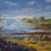 Bretagne. 50 x 50 cm. Acryl met paletmes. Verhuisd naar Vinkeveen.