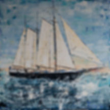 Mare fan Fryslân. Canvas 100x100cm. Paletmes. In opdracht gemaakt. Niet meer beschikbaar. Verhuisd naar Gersloot