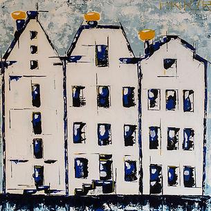 Amsterdam. Gebaseerd op de KLM huisjes. Canvas 80 x 80 cm. Acryl met paletmes. Verhuisd naar Gaast.