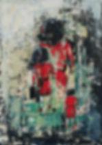 Op reis. Canvas 90 x 60 cm. Acryl met paletmes. Beschikbaar, prijs op aanvraag.