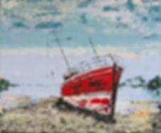 Kalinka, Breizh. Acryl, porseleinklei op canvas 120 x 100cm.  Niet meer beschikbaar.   Verhuisd naar Quiberon.