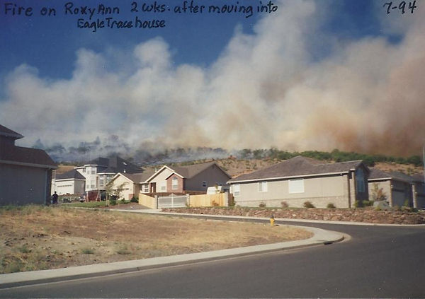 Roxy Ann fire, July 1994, looking northeast from the corner of Eagle Trace and Pebble Beach