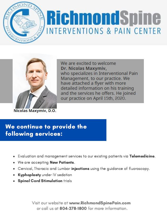 Richmond Spine Interventions and Pain Center's new provider and continued services despite pandemic