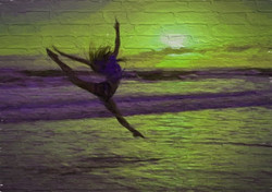 Dancer Painted on Wall-Lime & Purple 2014