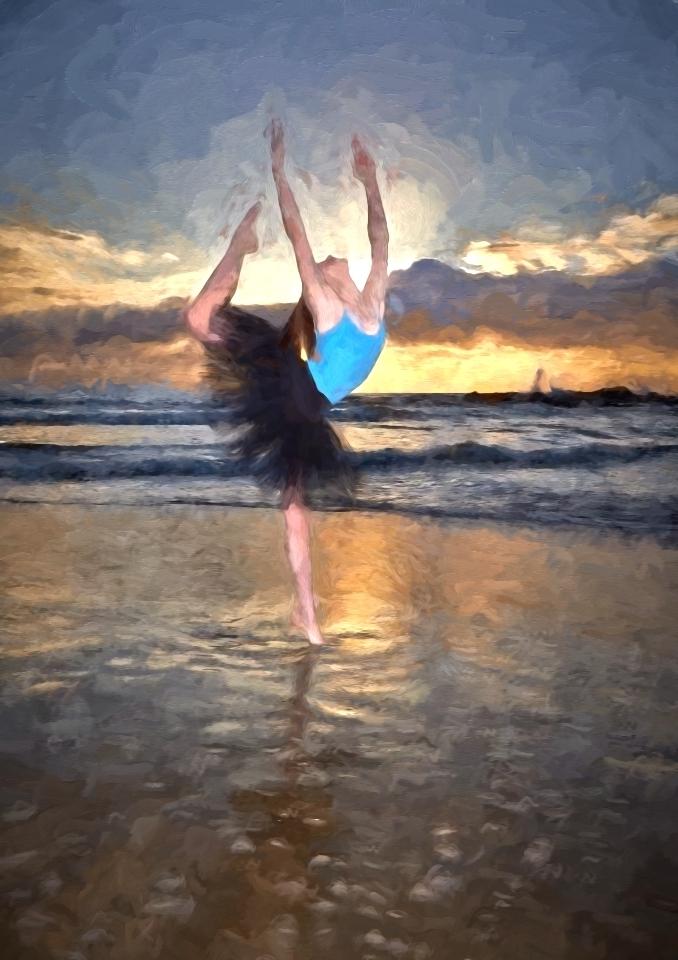 Dancer on beach Impressionist 2