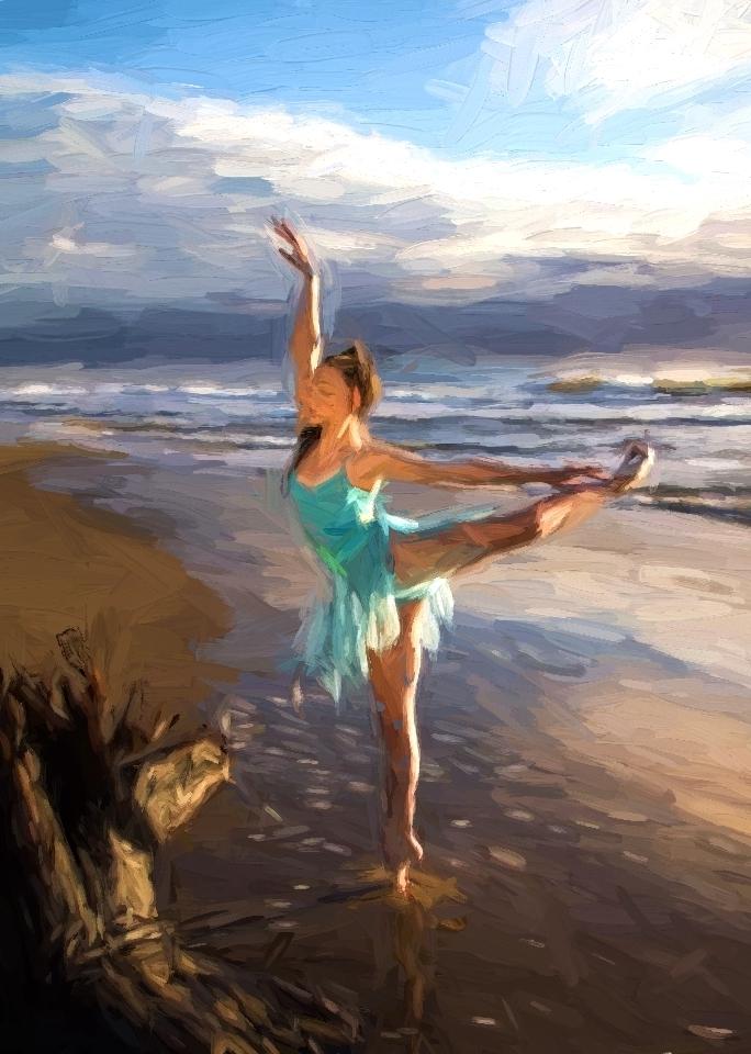 Dancer 3 on beach impressionist 2014