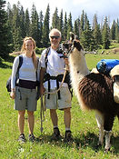 Jeff, andLauren owner of summit to summit luxury vacation rentals breckenridge with hank the llama
