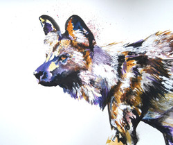 Painted Dog - Fiona Champion - Mixed Media - H63xW74 cms