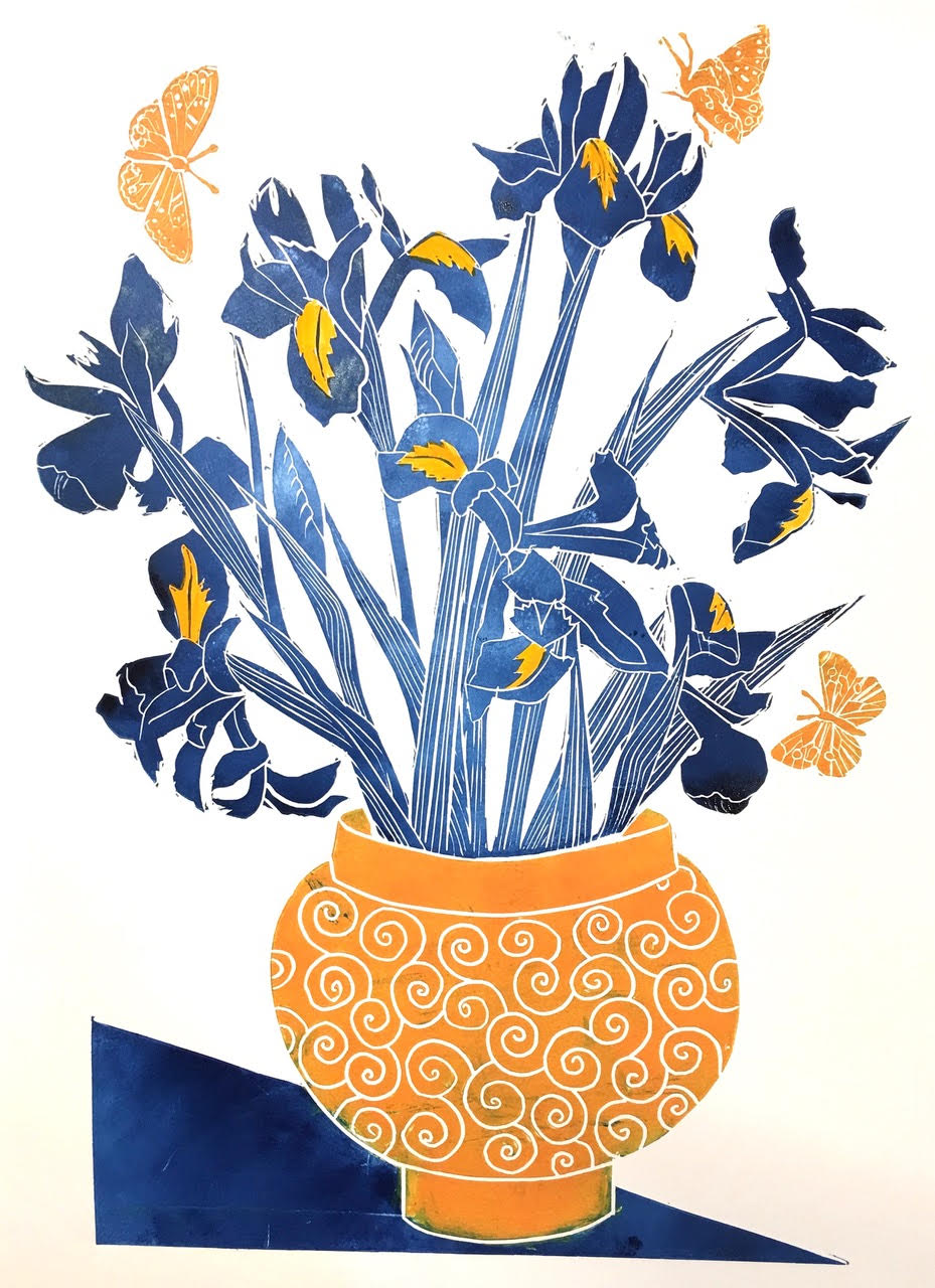 Irises in an Orange Bowl - £245