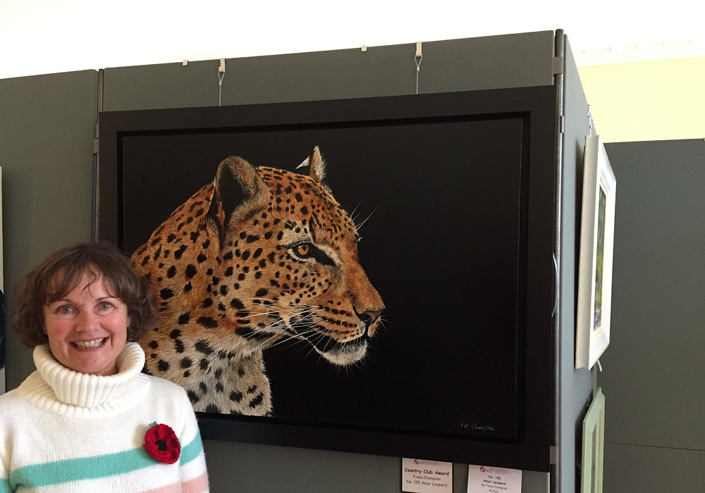 Fiona Champion with Amur Leopard