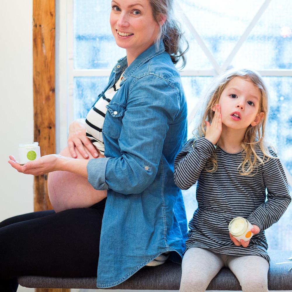 Nom Nom Skincare mother and daughter sitting