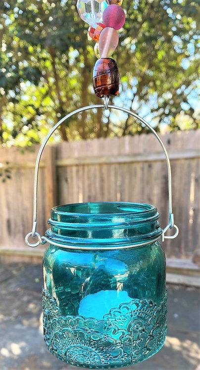 Lantern , twisted in teal & multi