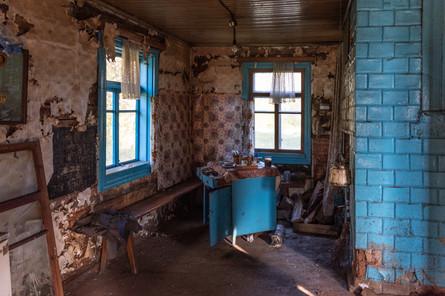 Brightly tiled kitchen