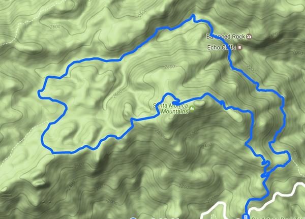 Topo map of Sandstone peak hike