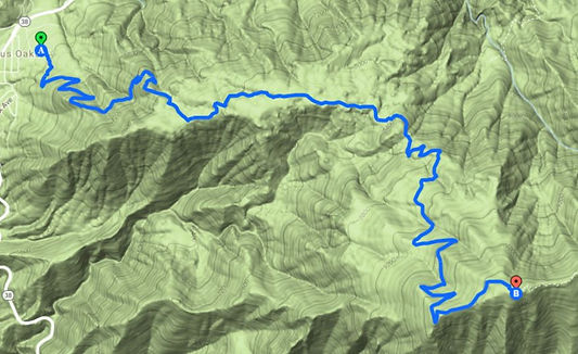 Hollywood sign hike topo map
