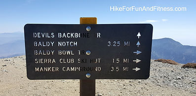 Mt. Baldy, San Antonio, Hollywood sign hike topo map