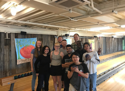 Farewell bowling with the two Victorias summer students!