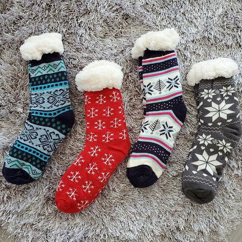 Women's plush sherpa winter fleece lining slipper socks