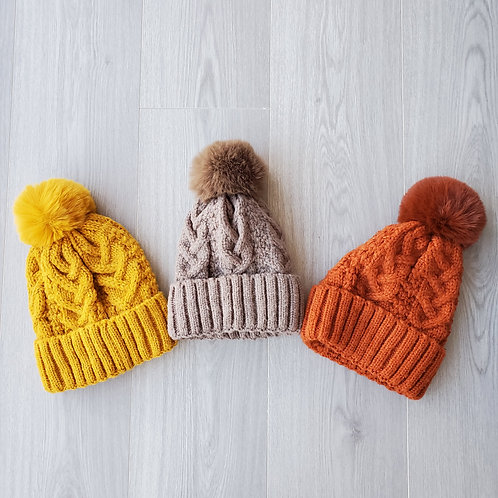 Cable Knit with Thermal Lining Pom Beanie