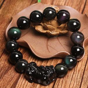 Natural Rainbow Eye Obsidian PiXiu Bracelet