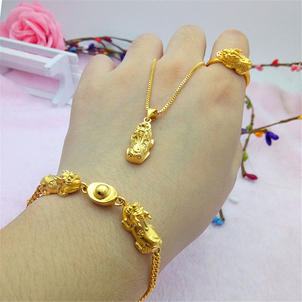 Lucky Pixiu Charm Bracelet, Necklace and Ring set