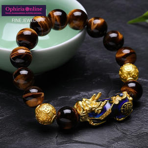 Natural Yellow Tiger Eye/Black Onyx Beads Bracelet With Temperature Color Change Lucky Pixiu
