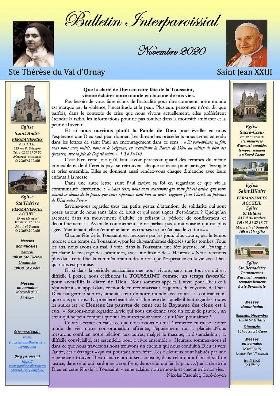 Bulletin Interparoissial  de Novembre  2