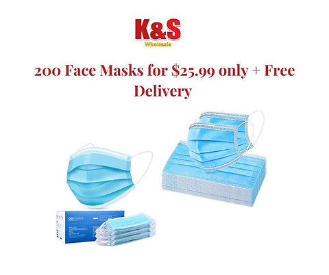 K&S disposable face masks- 200 Count