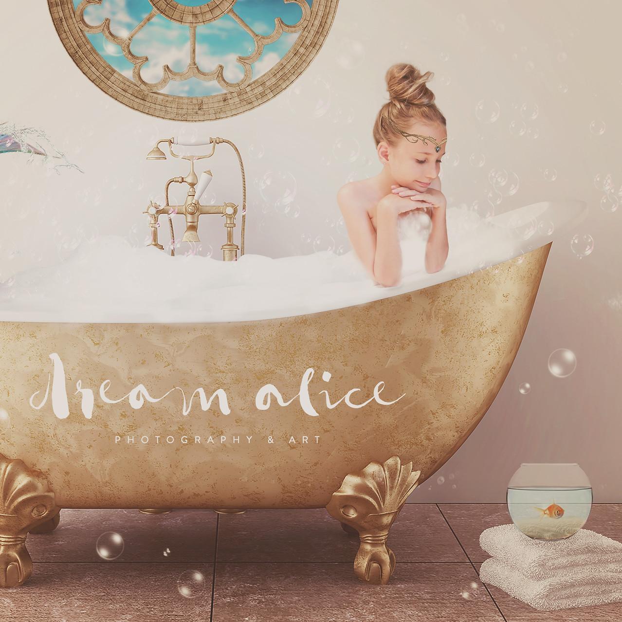 Mermaid Bath. Creative Children's Photography fantasy photoshoot, Dream Alice Photography & Art, Gold Coast
