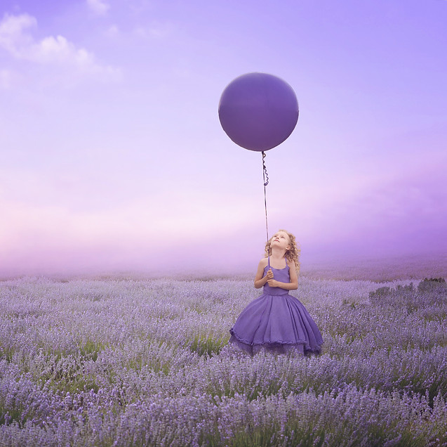 Purple Balloon. Creative Children's Photography fantasy photoshoot, Dream Alice Photography & Art, Gold Coast