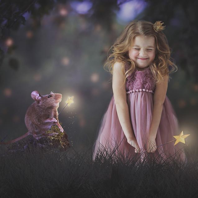 mouse magic. Creative Children's Photography fantasy photoshoot, Dream Alice Photography & Art, Gold Coast