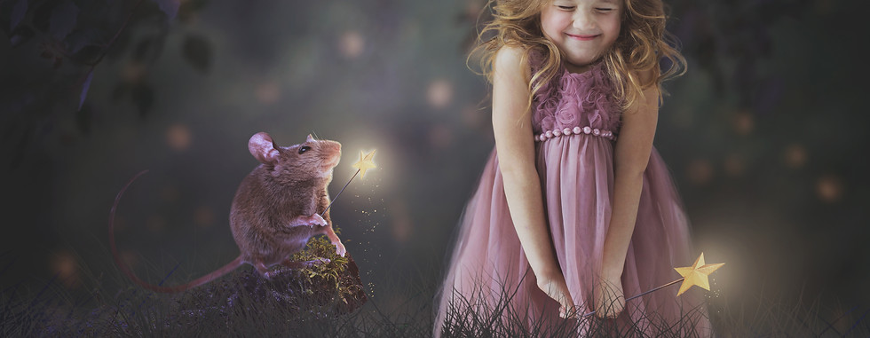 mouse magic. Creative Children's Photography fantasy photoshoot, Dream Alice Photography & Art, Gold Coast