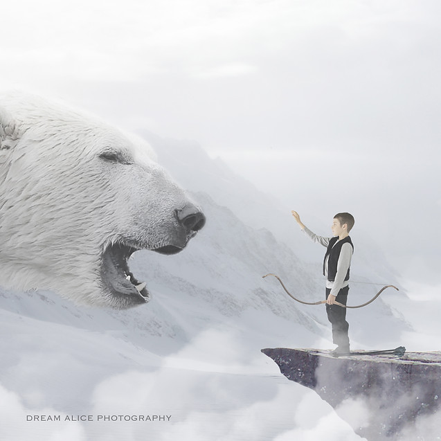 Polar Bear Huge. Creative Children's Photography fantasy photoshoot, Dream Alice Photography & Art, Gold Coast