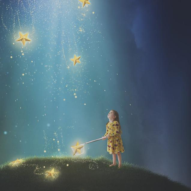 Ruby and stars. Creative Children's Photography fantasy photoshoot, Dream Alice Photography & Art, Gold Coast
