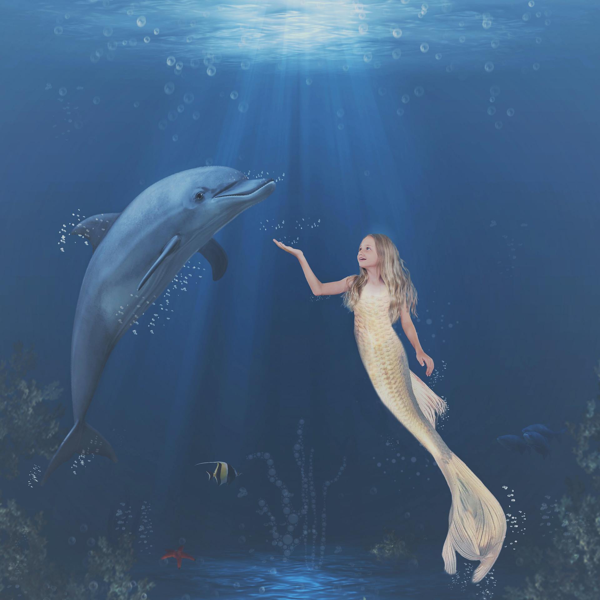 Ava and dolphin Final. Creative Children's Photography fantasy photoshoot, Dream Alice Photography & Art, Gold Coast