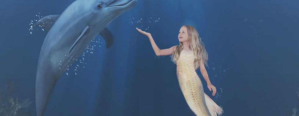 Ava and dolphin Final. Creative Children's Photography fantasy photoshoot, Dream Alice Photography & Art, Gold Coast