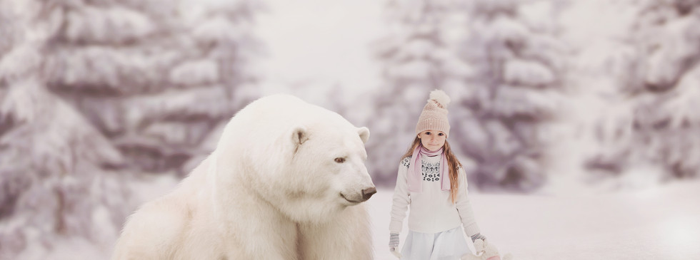 Polar Bear walk. Christmas Children's Photography fantasy photoshoot, Dream Alice Photography & Art, Gold Coast