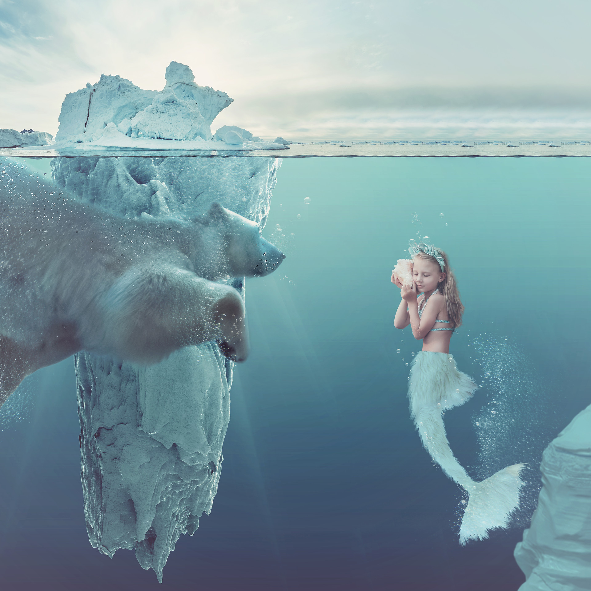 Mermaid Polar Bear. Creative Children's Photography fantasy photoshoot, Dream Alice Photography & Art, Gold Coast